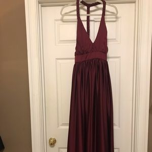Anthropologie Long Satin Dress